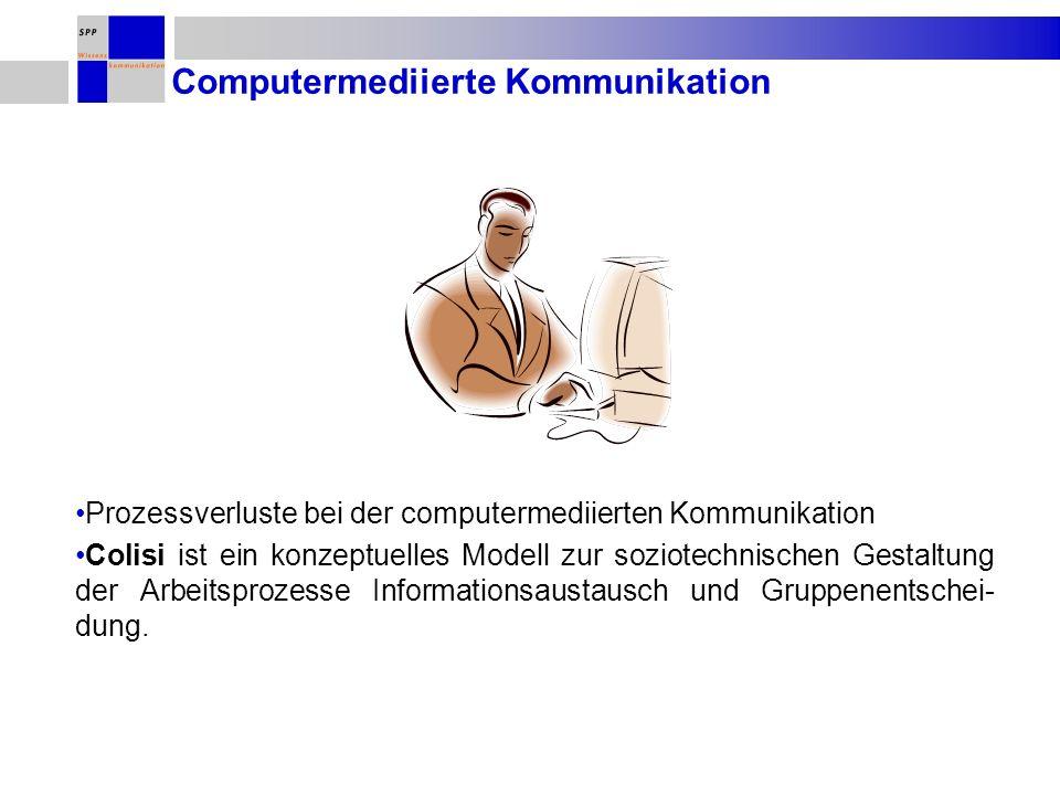Computermediierte Kommunikation Prozessverluste bei der computermediierten Kommunikation Colisi ist ein konzeptuelles Modell zur soziotechnischen Gestaltung der Arbeitsprozesse Informationsaustausch und Gruppenentschei- dung.