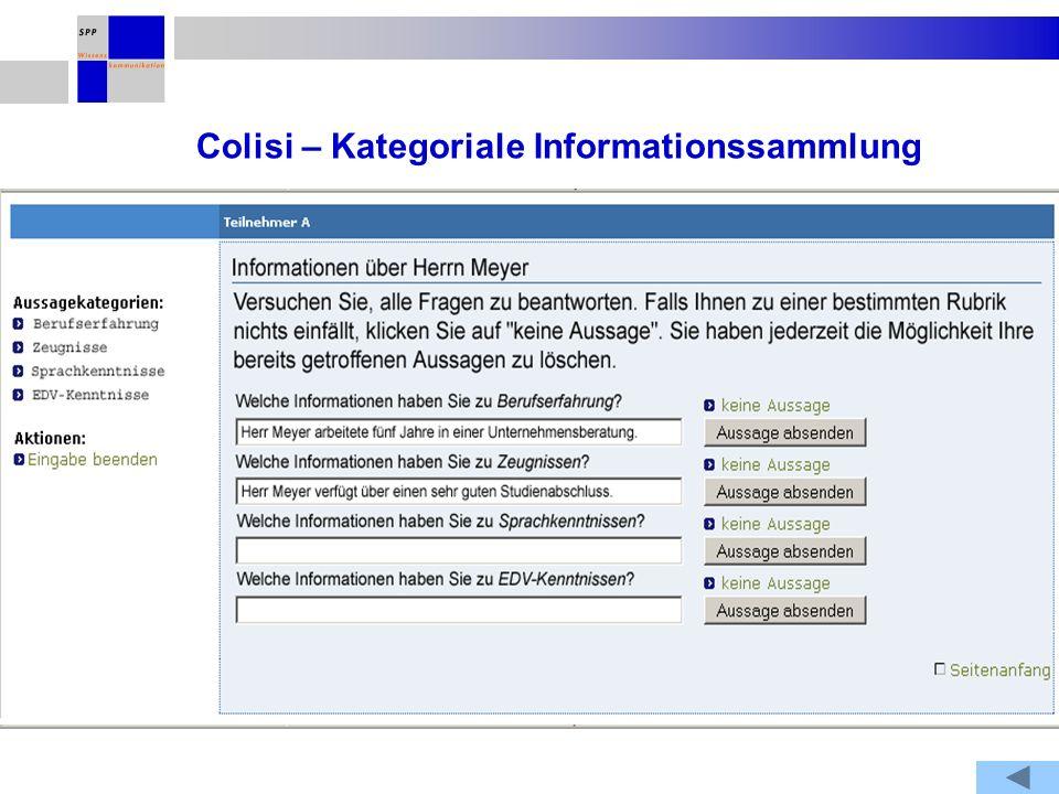 Colisi – Kategoriale Informationssammlung