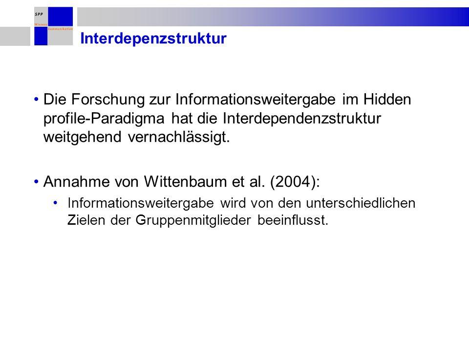 Interdepenzstruktur Die Forschung zur Informationsweitergabe im Hidden profile-Paradigma hat die Interdependenzstruktur weitgehend vernachlässigt. Ann