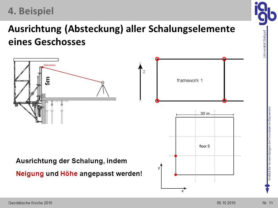 Institut für Anwendungen der Geodäsie im Bauwesen Universität Stuttgart Ausrichtung (Absteckung) aller Schalungselemente eines Geschosses Geodätische