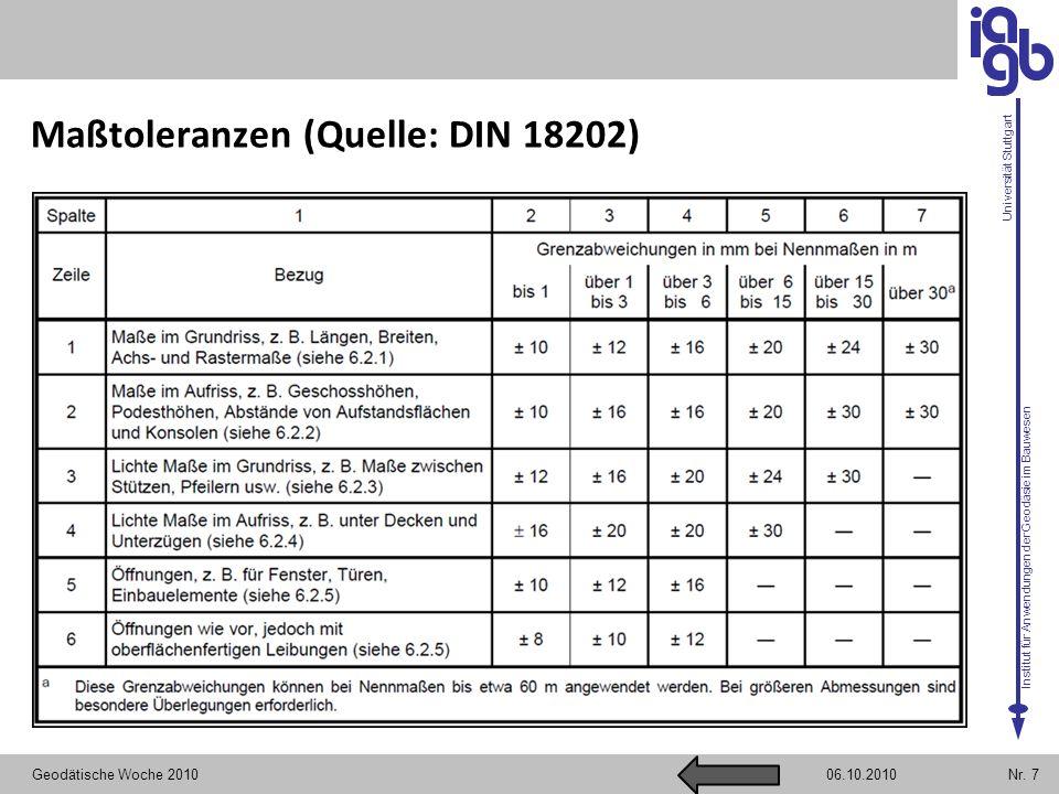 Institut für Anwendungen der Geodäsie im Bauwesen Universität Stuttgart Maßtoleranzen (Quelle: DIN 18202) Geodätische Woche 2010Nr. 706.10.2010
