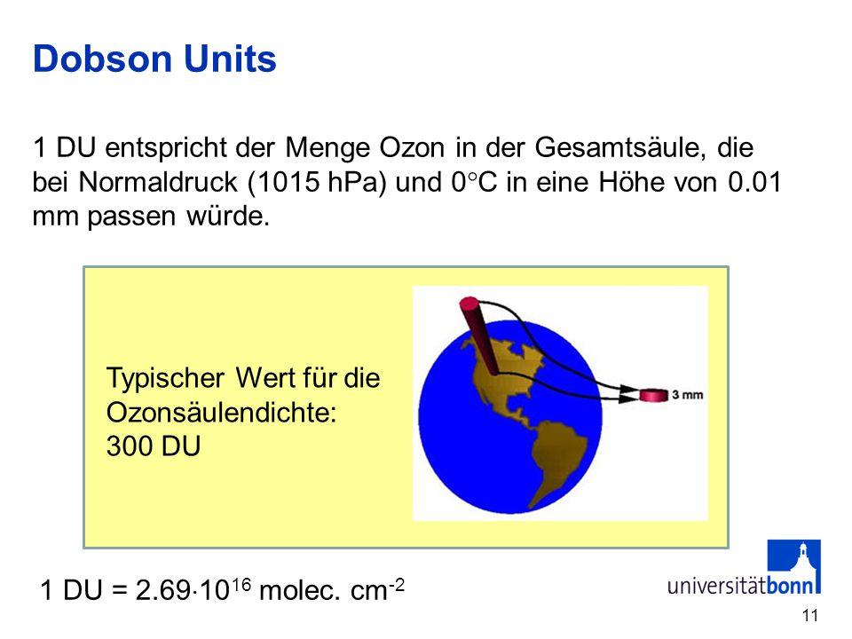 Dobson Units 11 1 DU entspricht der Menge Ozon in der Gesamtsäule, die bei Normaldruck (1015 hPa) und 0 C in eine Höhe von 0.01 mm passen würde.