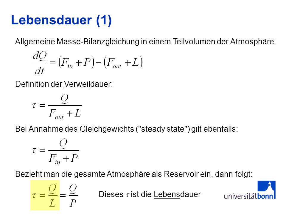 Lebensdauer (1) Definition der Verweildauer: Bei Annahme des Gleichgewichts ( steady state ) gilt ebenfalls: Allgemeine Masse-Bilanzgleichung in einem Teilvolumen der Atmosphäre: Bezieht man die gesamte Atmosphäre als Reservoir ein, dann folgt: Dieses ist die Lebensdauer