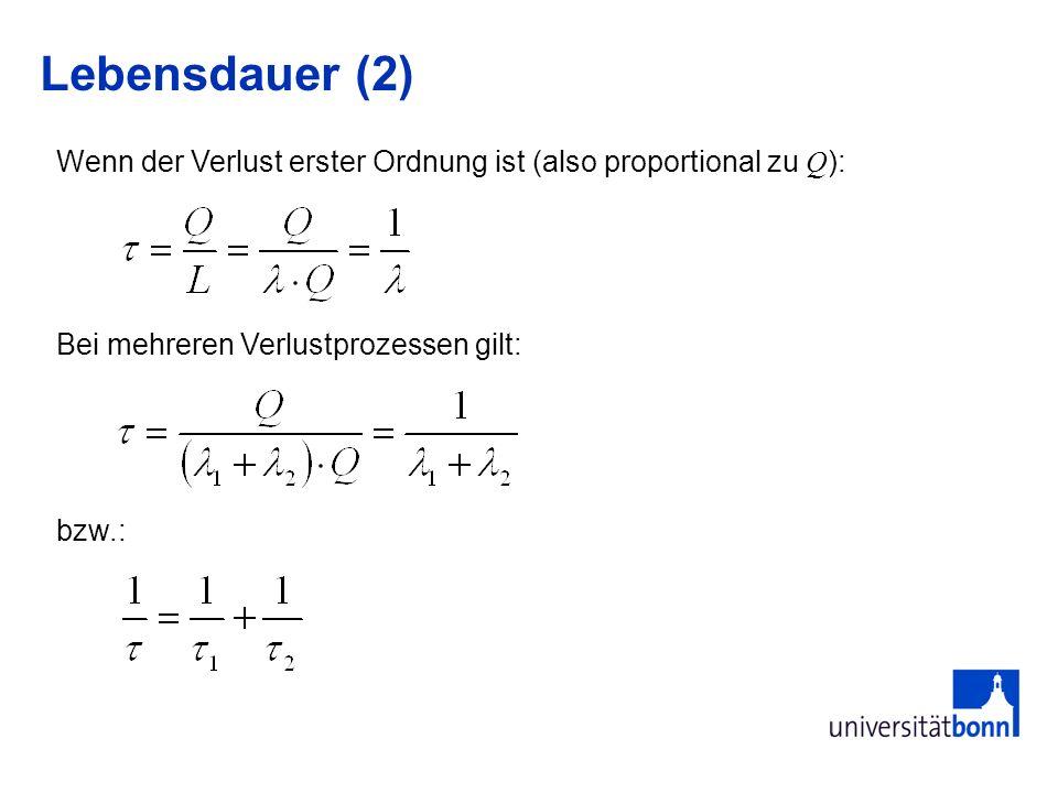 Lebensdauer (2) Bei mehreren Verlustprozessen gilt: bzw.: Wenn der Verlust erster Ordnung ist (also proportional zu Q ):