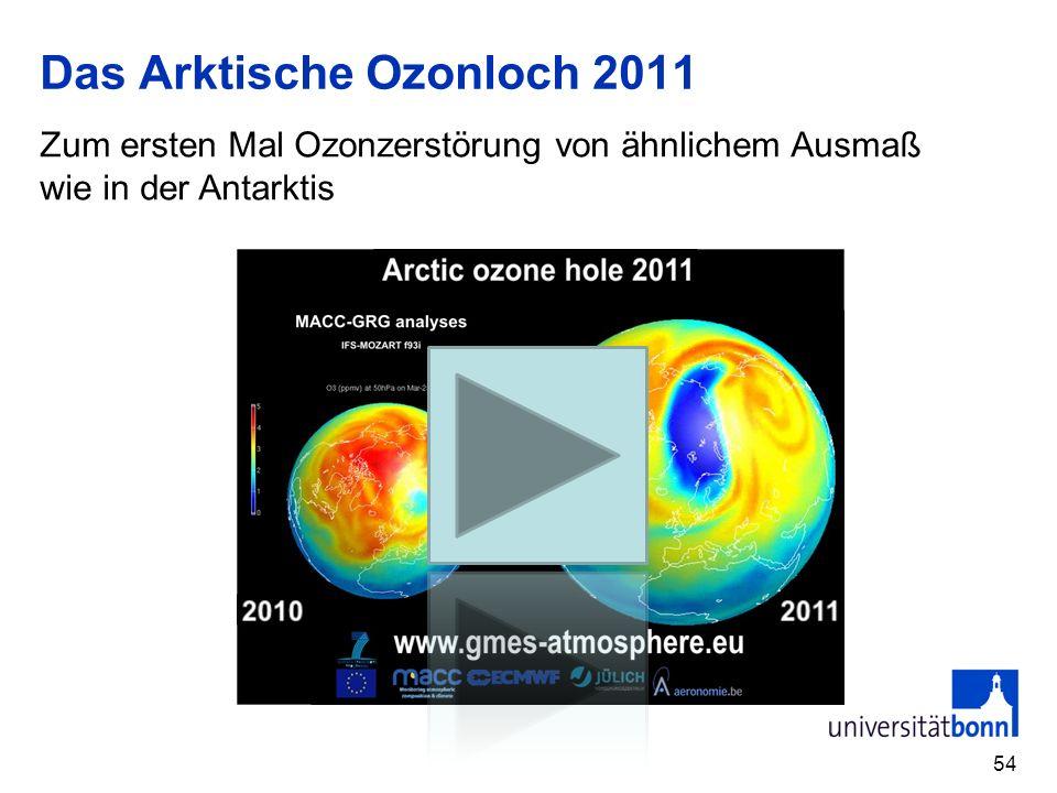 Das Arktische Ozonloch 2011 54 Zum ersten Mal Ozonzerstörung von ähnlichem Ausmaß wie in der Antarktis