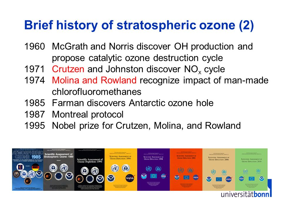 Brief history of stratospheric ozone (2) 1960McGrath and Norris discover OH production and propose catalytic ozone destruction cycle 1971Crutzen and J