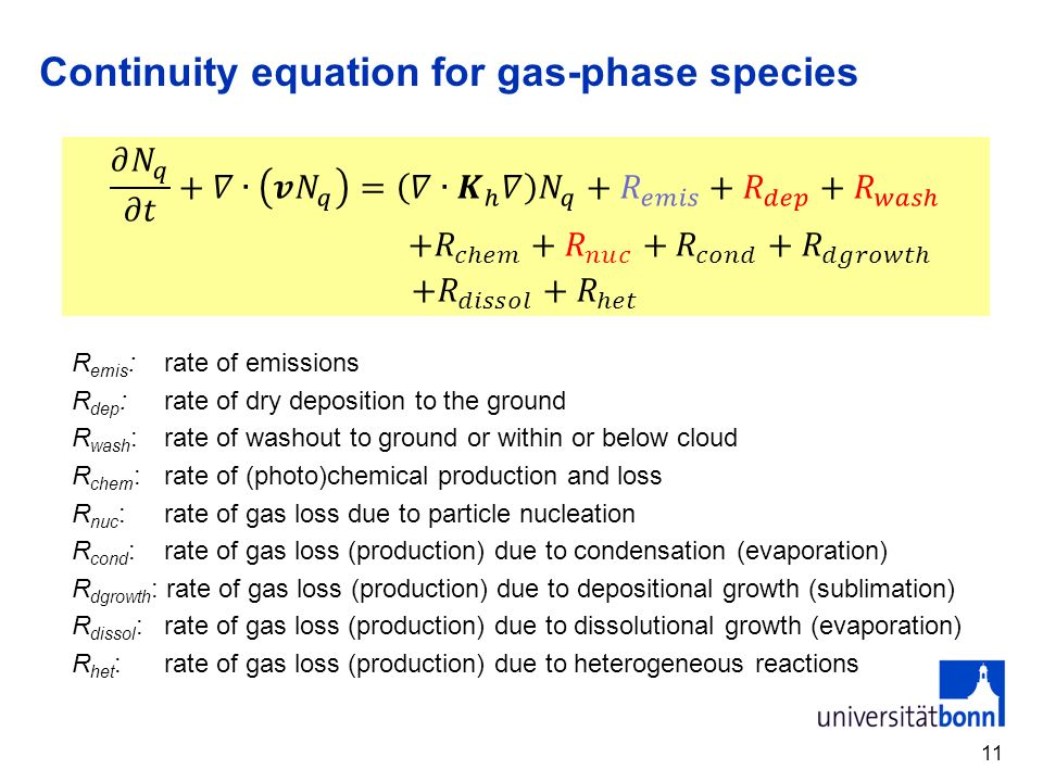 Continuity equation for gas-phase species R emis : rate of emissions R dep : rate of dry deposition to the ground R wash : rate of washout to ground o
