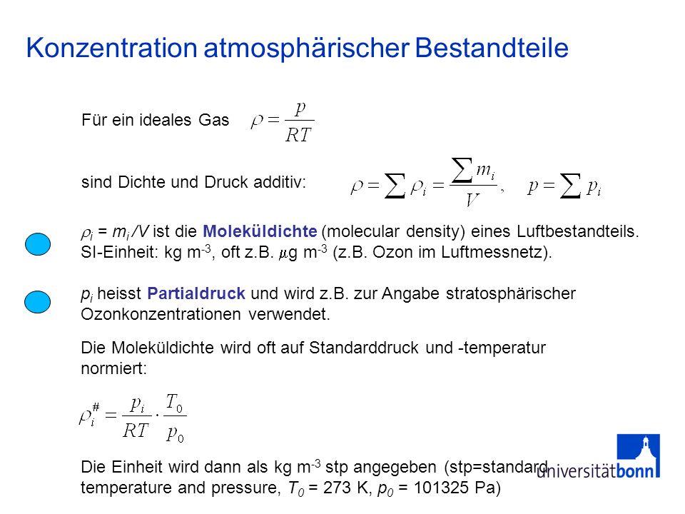 Konzentration atmosphärischer Bestandteile i = m i /V ist die Moleküldichte (molecular density) eines Luftbestandteils. SI-Einheit: kg m -3, oft z.B.