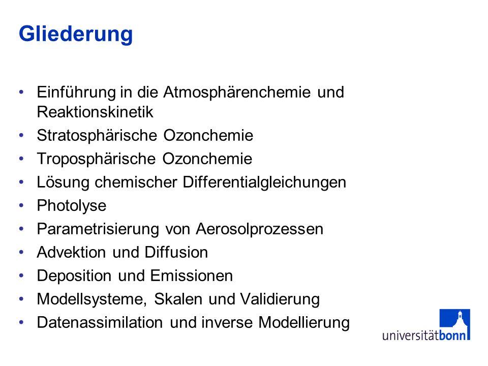 Gliederung Einführung in die Atmosphärenchemie und Reaktionskinetik Stratosphärische Ozonchemie Troposphärische Ozonchemie Lösung chemischer Different