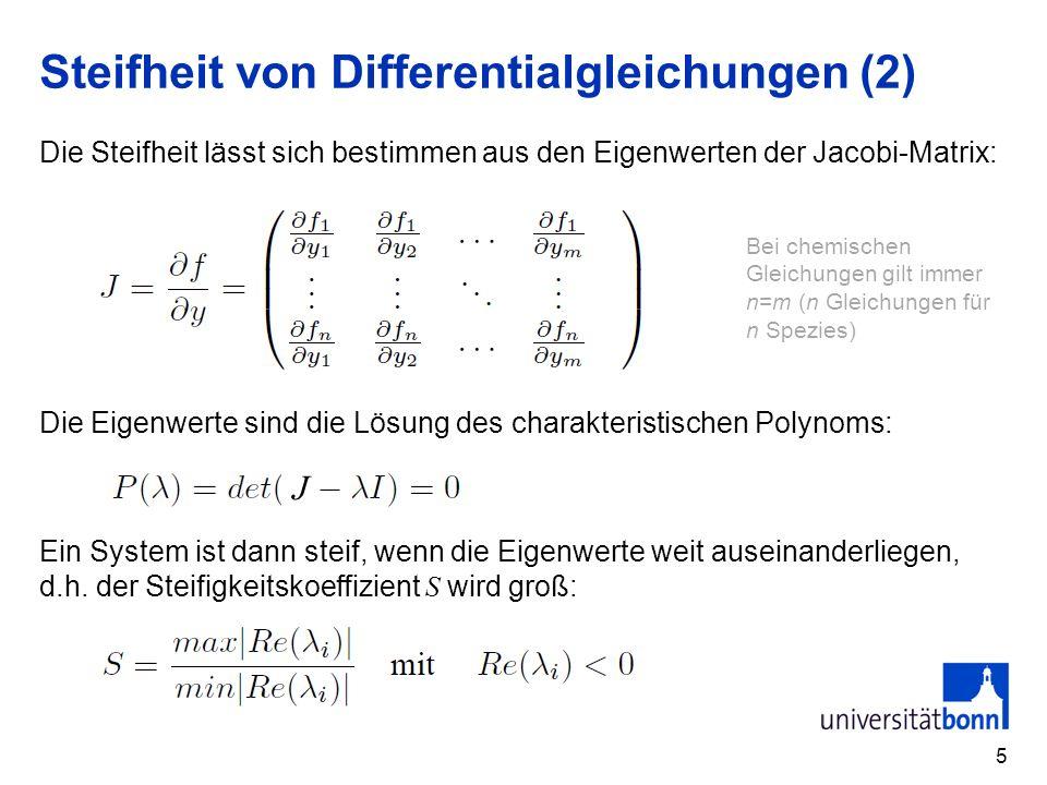 Steifheit von Differentialgleichungen (2) 5 Die Steifheit lässt sich bestimmen aus den Eigenwerten der Jacobi-Matrix: Die Eigenwerte sind die Lösung d