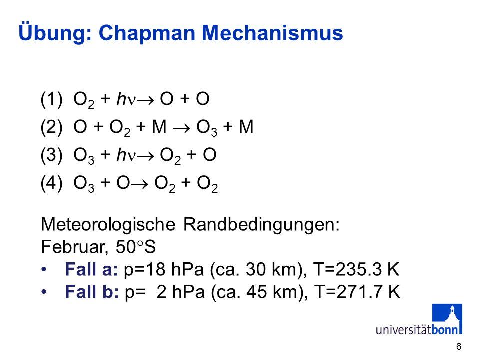 Übung: Chapman Mechanismus 6 (1) O 2 + h O + O (2) O + O 2 + M O 3 + M (3) O 3 + h O 2 + O (4) O 3 + O O 2 + O 2 Meteorologische Randbedingungen: Febr