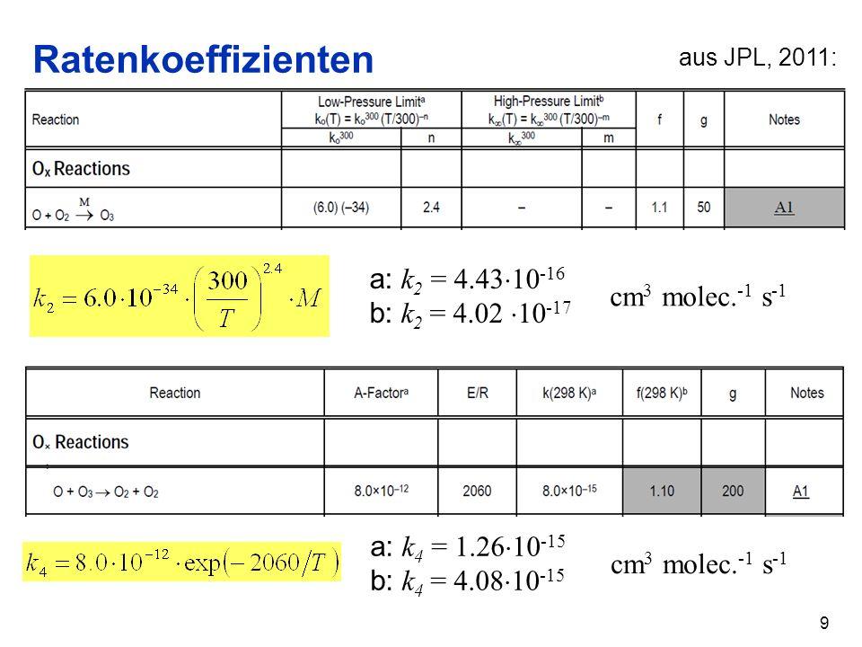 Ratenkoeffizienten 9 aus JPL, 2011: a: k 2 = 4.43 10 -16 b: k 2 = 4.02 10 -17 cm 3 molec. -1 s -1 a: k 4 = 1.26 10 -15 b: k 4 = 4.08 10 -15 cm 3 molec