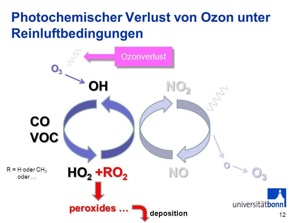 Photochemischer Verlust von Ozon unter Reinluftbedingungen 12 COVOC OH NO 2 O3O3O3O3 HO 2 NO O3O3O3O3 O +RO 2 peroxides … deposition R = H oder CH 3 o