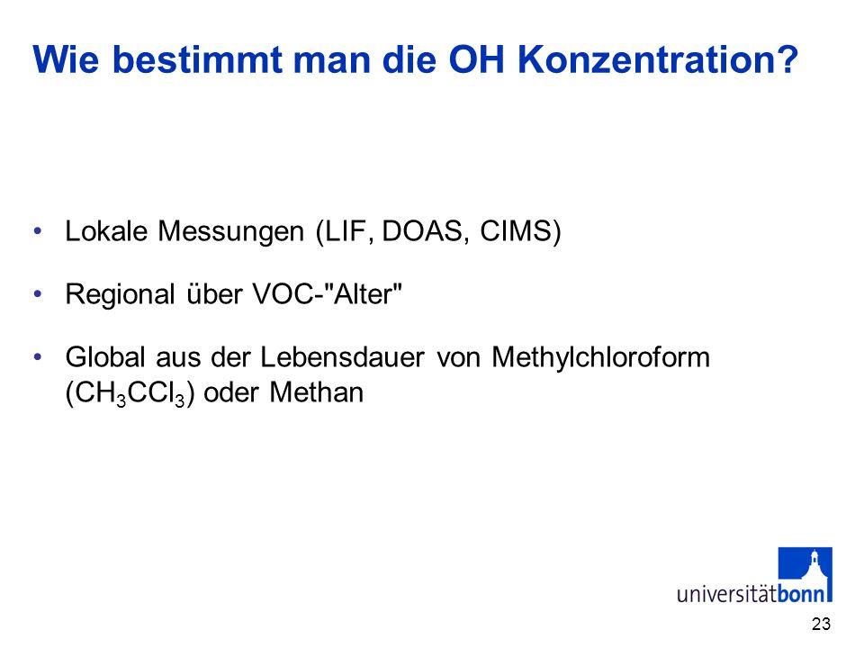 Wie bestimmt man die OH Konzentration? Lokale Messungen (LIF, DOAS, CIMS) Regional über VOC-