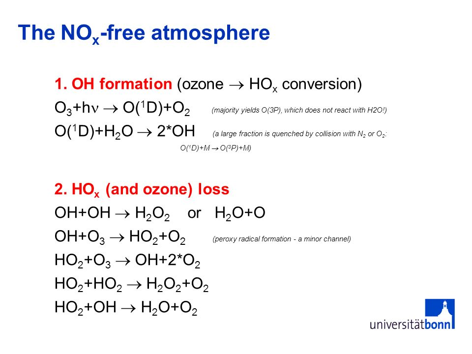 The NO x -free atmosphere 1. OH formation (ozone HO x conversion) O 3 +h O( 1 D)+O 2 (majority yields O(3P), which does not react with H2O!) O( 1 D)+H