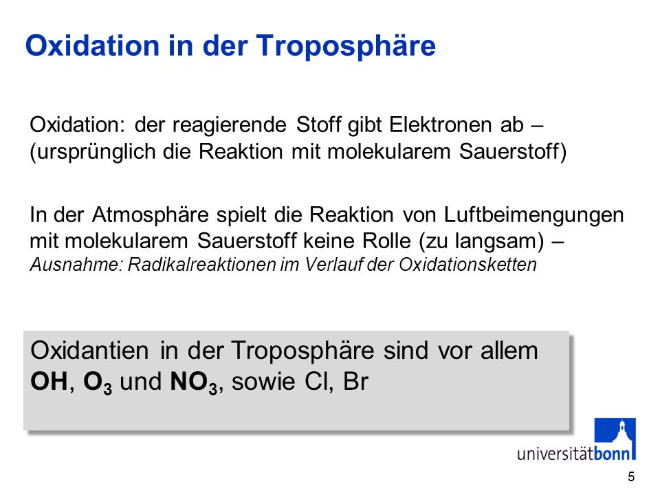 Oxidation in der Troposphäre Oxidation: der reagierende Stoff gibt Elektronen ab – (ursprünglich die Reaktion mit molekularem Sauerstoff) In der Atmos