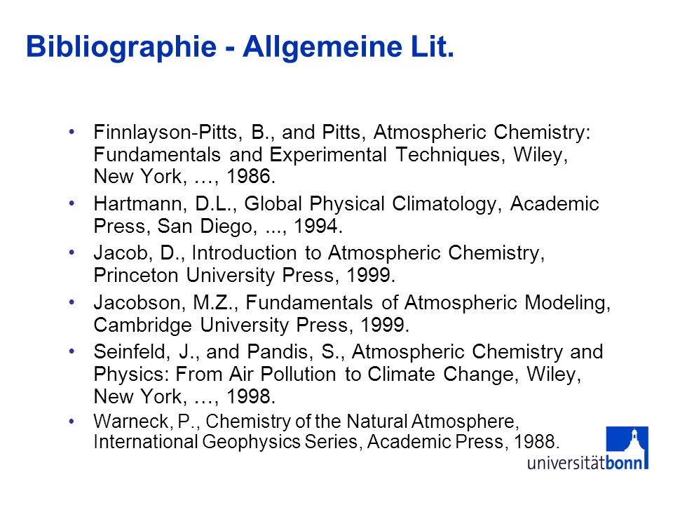 Bibliographie Compilations of Rate constants: Finnlayson-Pitts & Pitts, 1986.