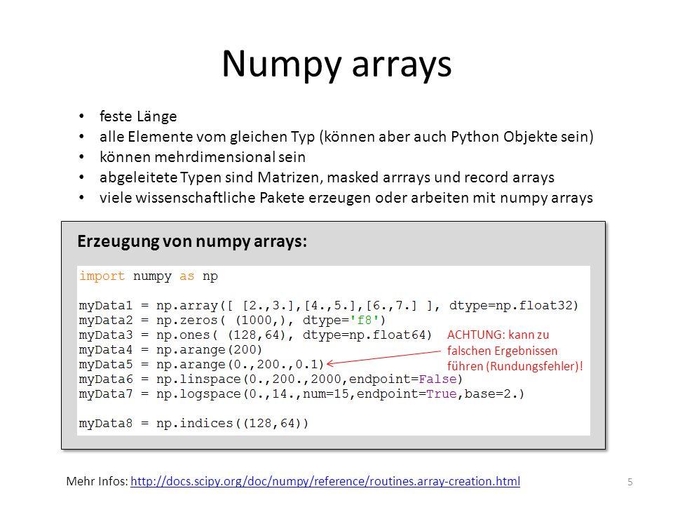Numpy arrays 5 feste Länge alle Elemente vom gleichen Typ (können aber auch Python Objekte sein) können mehrdimensional sein abgeleitete Typen sind Ma
