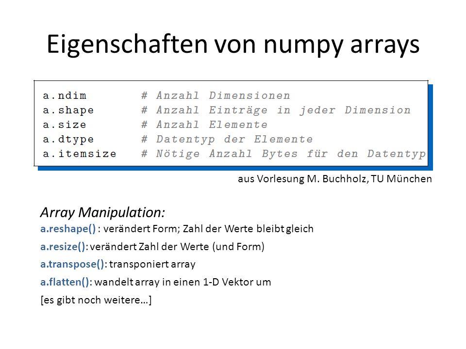 Eigenschaften von numpy arrays aus Vorlesung M. Buchholz, TU München Array Manipulation: a.reshape() : verändert Form; Zahl der Werte bleibt gleich a.