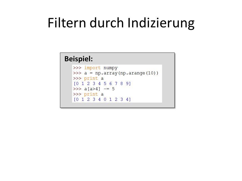 Beispiel: Filtern durch Indizierung