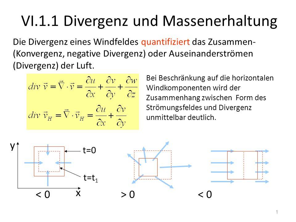 1 VI.1.1 Divergenz und Massenerhaltung x 0 < 0 t=0 t=t 1 Bei Beschränkung auf die horizontalen Windkomponenten wird der Zusammenhang zwischen Form des