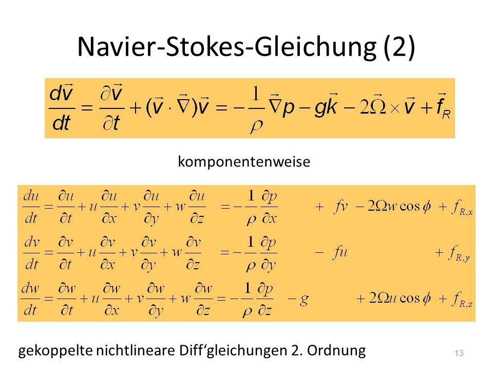 13 Navier-Stokes-Gleichung (2) komponentenweise gekoppelte nichtlineare Diffgleichungen 2. Ordnung
