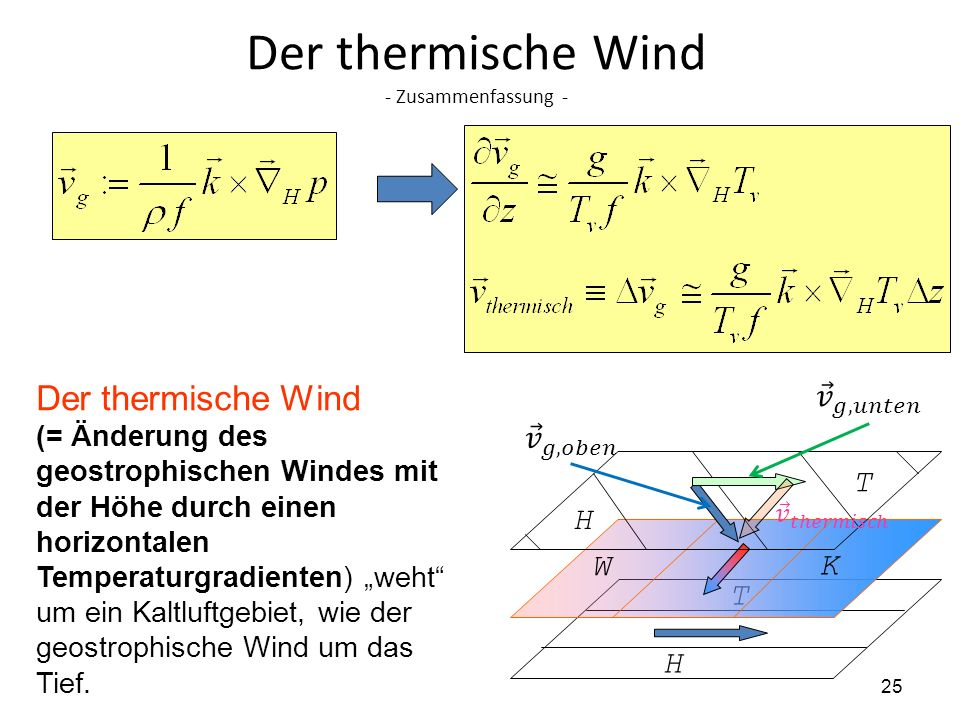 25 Der thermische Wind - Zusammenfassung - Der thermische Wind (= Änderung des geostrophischen Windes mit der Höhe durch einen horizontalen Temperatur