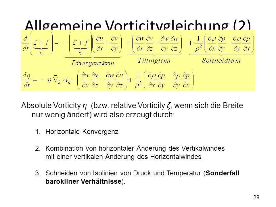 28 Allgemeine Vorticitygleichung (2) Absolute Vorticity η (bzw. relative Vorticity ζ, wenn sich die Breite nur wenig ändert) wird also erzeugt durch:
