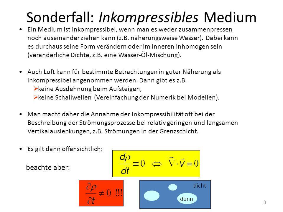 3 Sonderfall: Inkompressibles Medium Ein Medium ist inkompressibel, wenn man es weder zusammenpressen noch auseinander ziehen kann (z.B. näherungsweis