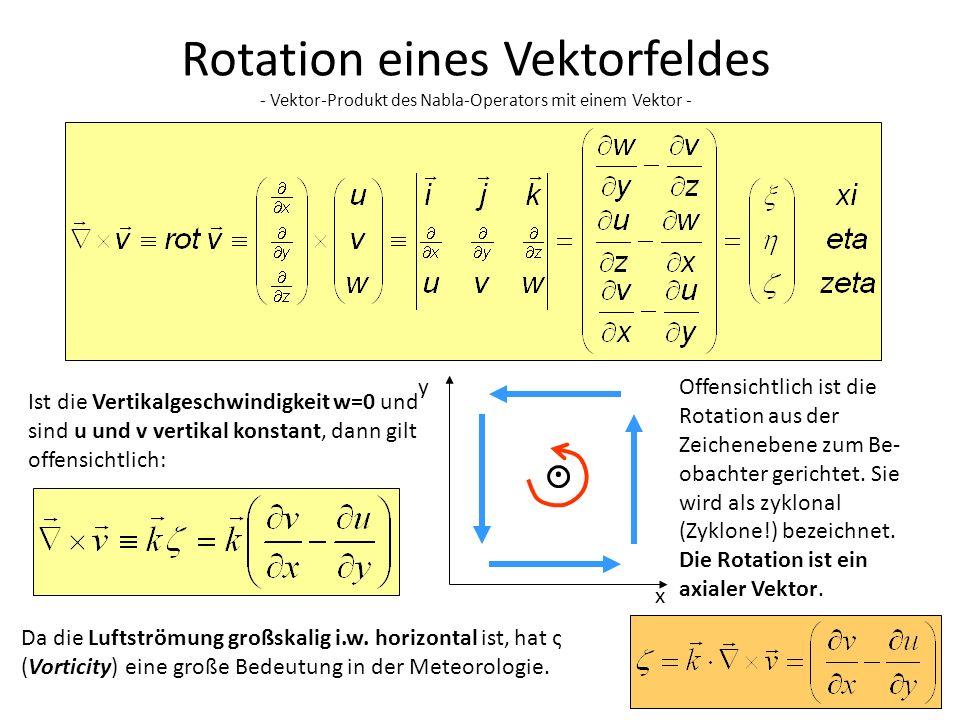 4 Rotation eines Vektorfeldes - Vektor-Produkt des Nabla-Operators mit einem Vektor - Ist die Vertikalgeschwindigkeit w=0 und sind u und v vertikal ko
