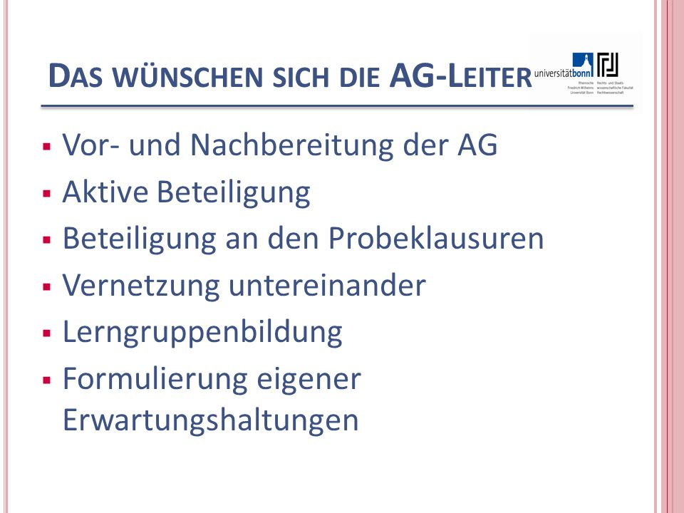 D AS WÜNSCHEN SICH DIE AG-L EITER Abmeldungen