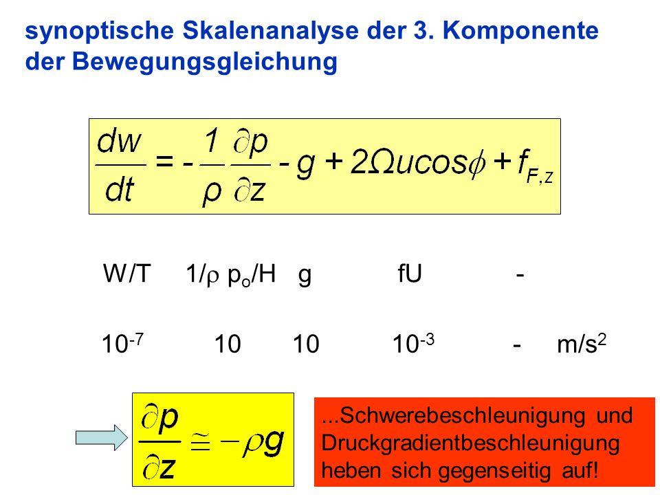 8 synoptische Skalenanalyse der 3. Komponente der Bewegungsgleichung W/T 1/ p o /H g fU - 10 -7 10 10 10 -3 - m/s 2...Schwerebeschleunigung und Druckg
