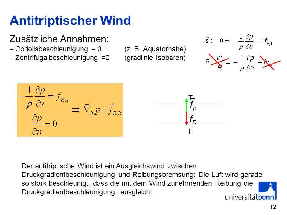 12 Antitriptischer Wind Zusätzliche Annahmen: Coriolisbeschleunigung = 0 (z. B. Äquatornähe) Zentrifugalbeschleunigung =0(gradlinie Isobaren) H T Der