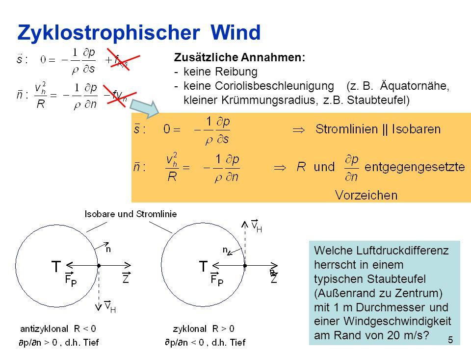 Welche Luftdruckdifferenz herrscht in einem typischen Staubteufel (Außenrand zu Zentrum) mit 1 m Durchmesser und einer Windgeschwindigkeit am Rand von