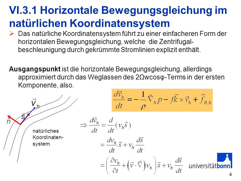 4 VI.3.1 Horizontale Bewegungsgleichung im natürlichen Koordinatensystem Das natürliche Koordinatensystem führt zu einer einfacheren Form der horizont