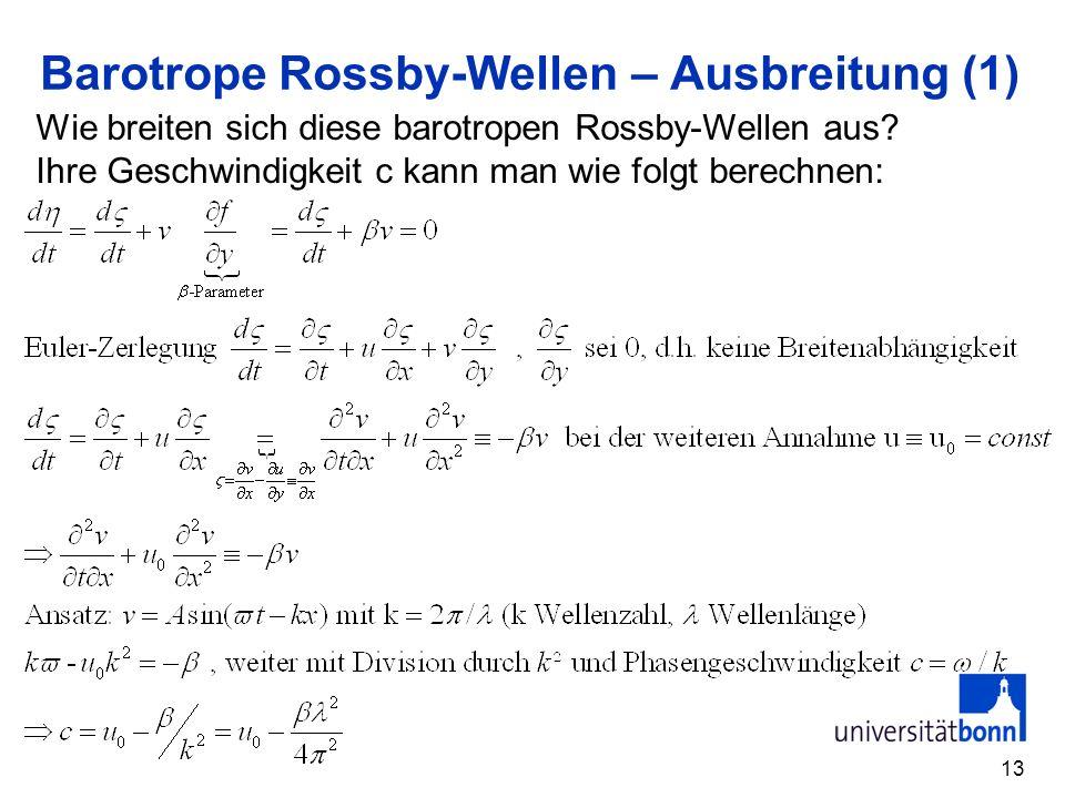 13 Barotrope Rossby-Wellen – Ausbreitung (1) Wie breiten sich diese barotropen Rossby-Wellen aus? Ihre Geschwindigkeit c kann man wie folgt berechnen: