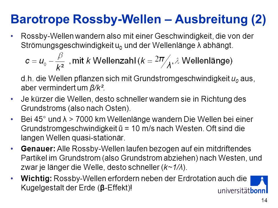 14 Barotrope Rossby-Wellen – Ausbreitung (2) Rossby-Wellen wandern also mit einer Geschwindigkeit, die von der Strömungsgeschwindigkeit u 0 und der We