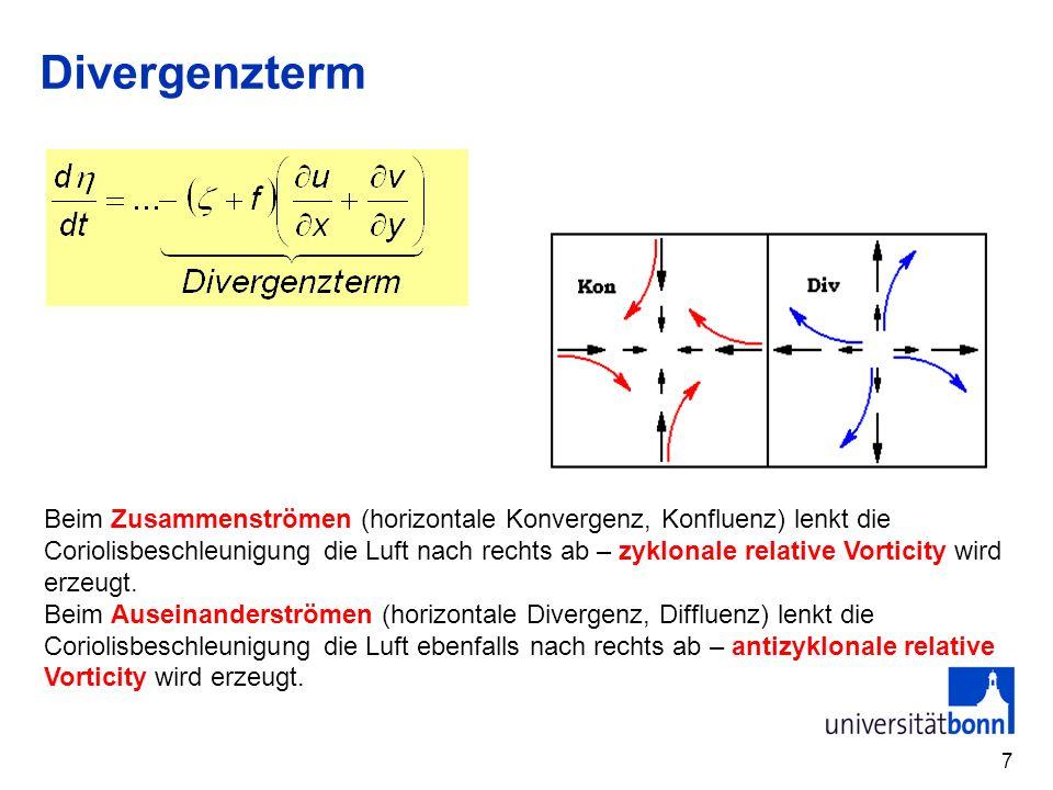 7 Divergenzterm Beim Zusammenströmen (horizontale Konvergenz, Konfluenz) lenkt die Coriolisbeschleunigung die Luft nach rechts ab – zyklonale relative
