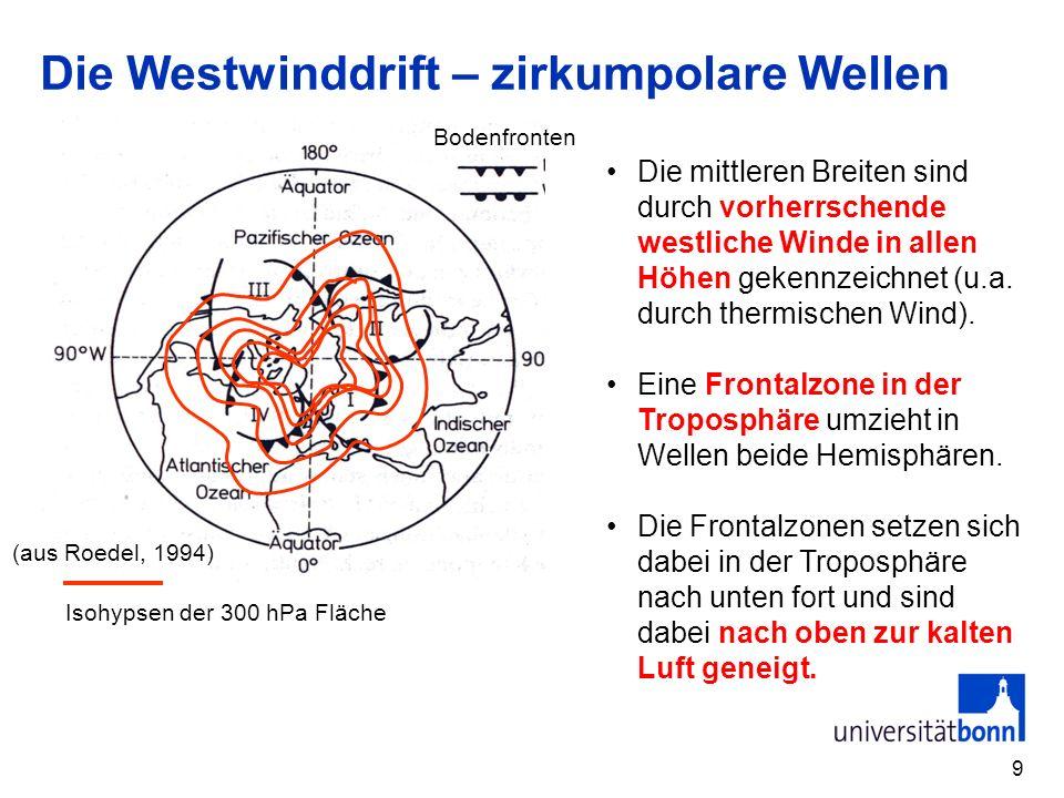 9 Die Westwinddrift – zirkumpolare Wellen Die mittleren Breiten sind durch vorherrschende westliche Winde in allen Höhen gekennzeichnet (u.a. durch th