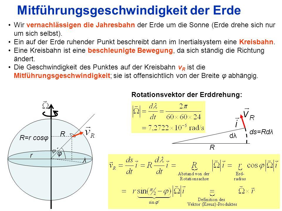 9 Rotation der Absolutgeschwindigkeit Für die Absolutgeschwindigkeit eines sich auf der Erde bewegenden Teilchens gilt also : Für deren Rotation gilt: Weiter gilt für die z-Komponente der Rotation (Vorticity)