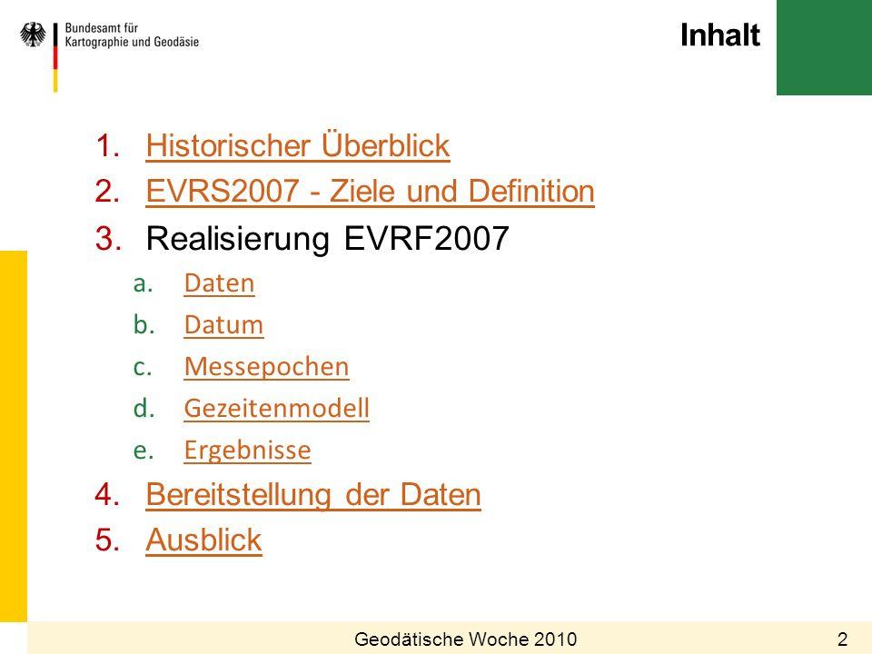 Inhalt Geodätische Woche 20102 1.Historischer ÜberblickHistorischer Überblick 2.EVRS2007 - Ziele und DefinitionEVRS2007 - Ziele und Definition 3.Reali
