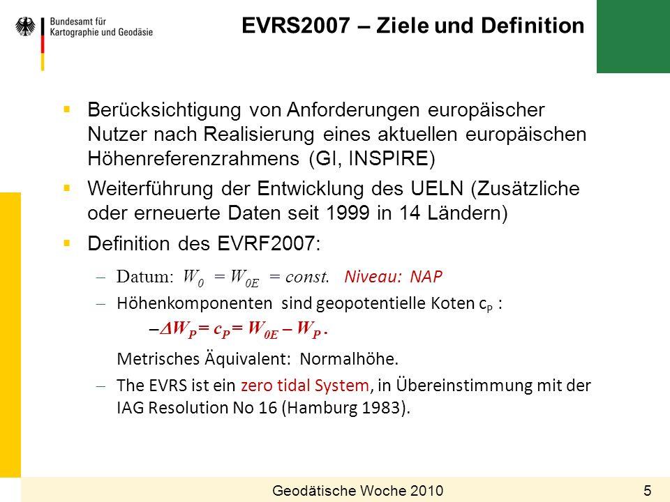 EVRS2007 – Ziele und Definition 5Geodätische Woche 2010 Berücksichtigung von Anforderungen europäischer Nutzer nach Realisierung eines aktuellen europ