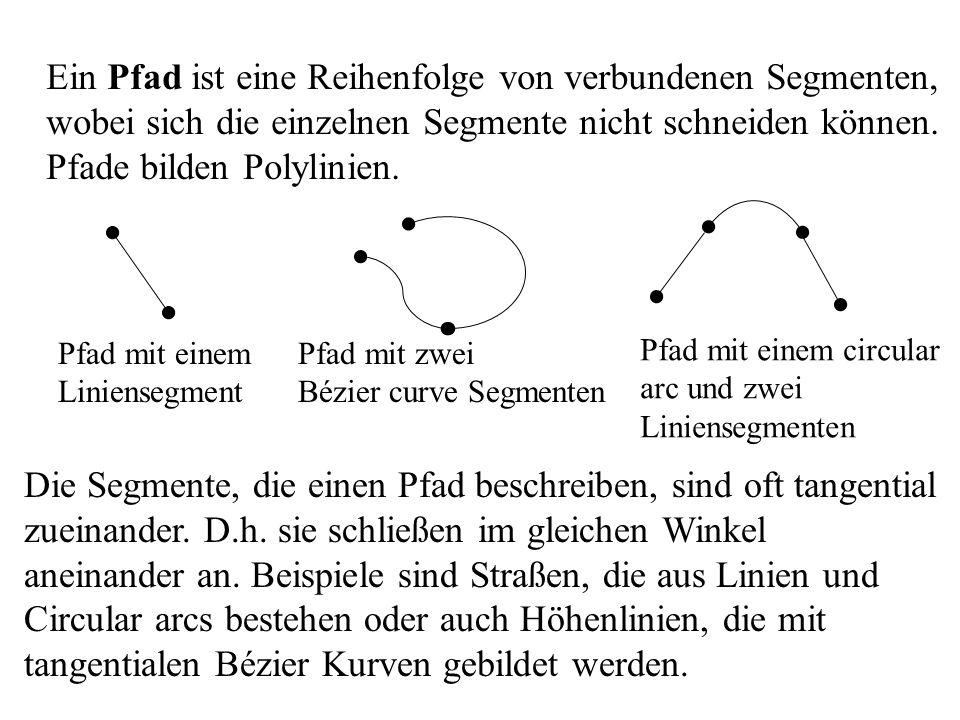 Ein Pfad ist eine Reihenfolge von verbundenen Segmenten, wobei sich die einzelnen Segmente nicht schneiden können. Pfade bilden Polylinien. Pfad mit e