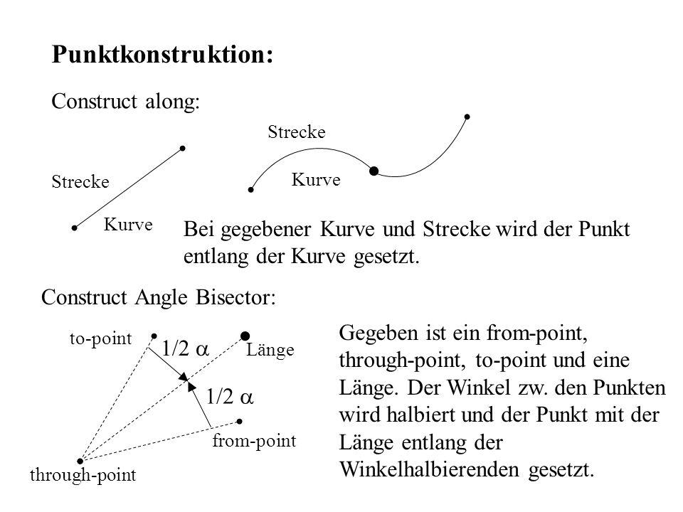 Punktkonstruktion: Construct along: Bei gegebener Kurve und Strecke wird der Punkt entlang der Kurve gesetzt. Strecke Kurve Strecke Kurve Construct An