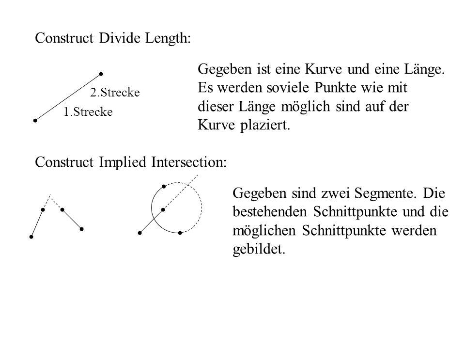 Construct Divide Length: 1.Strecke 2.Strecke Gegeben ist eine Kurve und eine Länge. Es werden soviele Punkte wie mit dieser Länge möglich sind auf der