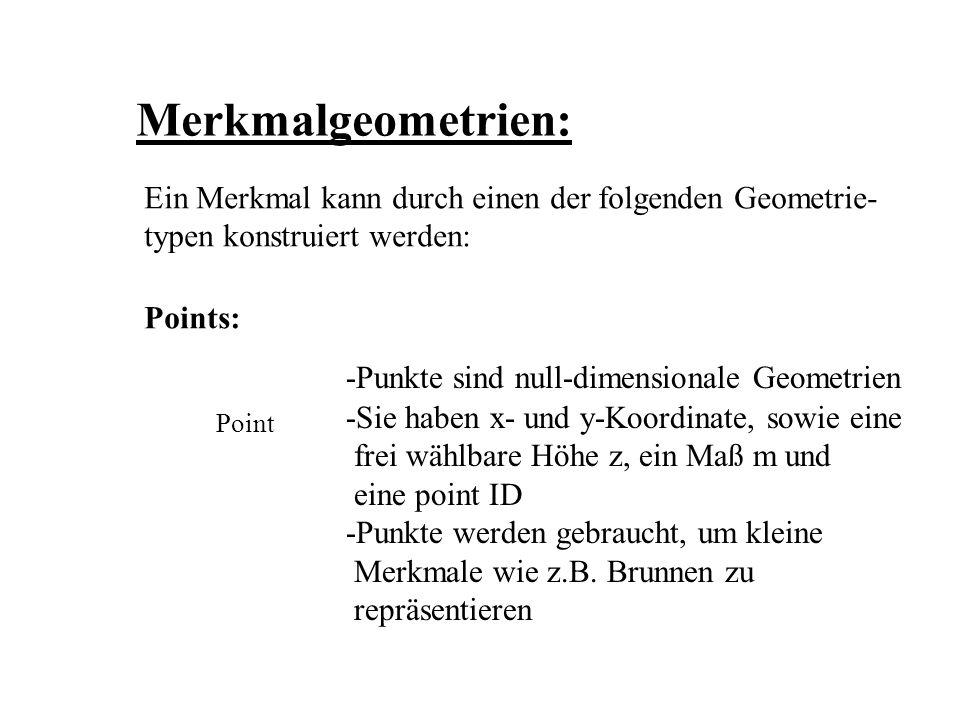 Merkmalgeometrien: Ein Merkmal kann durch einen der folgenden Geometrie- typen konstruiert werden: Points: Point -Punkte sind null-dimensionale Geomet