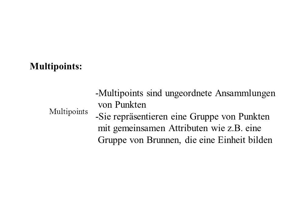 Multipoints: Multipoints -Multipoints sind ungeordnete Ansammlungen von Punkten -Sie repräsentieren eine Gruppe von Punkten mit gemeinsamen Attributen wie z.B.