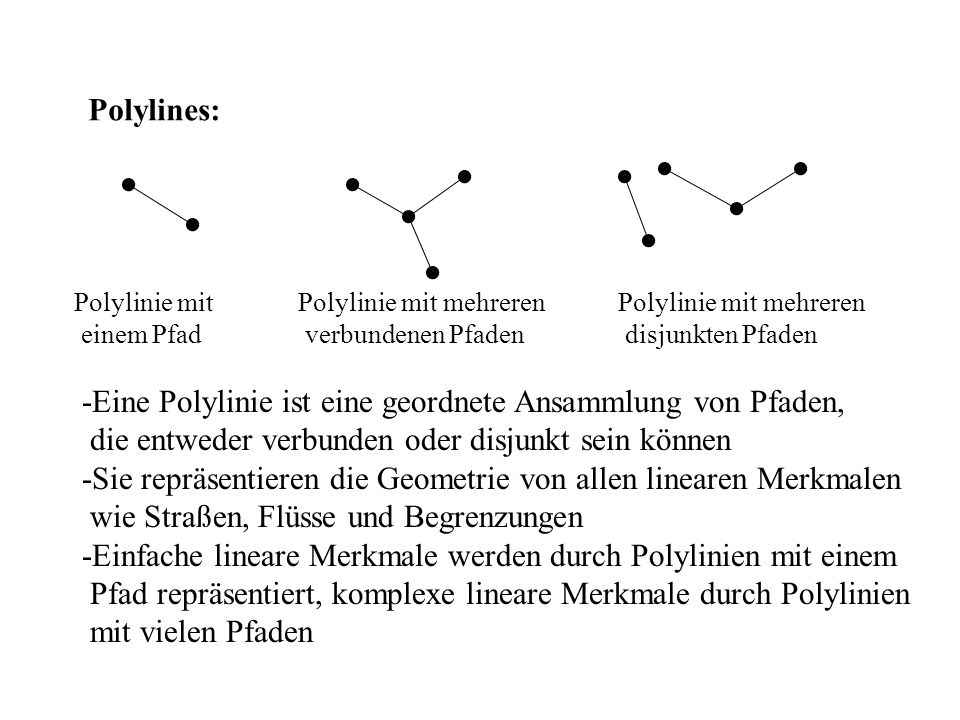 Polylines: Polylinie mit einem Pfad Polylinie mit mehreren verbundenen Pfaden Polylinie mit mehreren disjunkten Pfaden -Eine Polylinie ist eine geordnete Ansammlung von Pfaden, die entweder verbunden oder disjunkt sein können -Sie repräsentieren die Geometrie von allen linearen Merkmalen wie Straßen, Flüsse und Begrenzungen -Einfache lineare Merkmale werden durch Polylinien mit einem Pfad repräsentiert, komplexe lineare Merkmale durch Polylinien mit vielen Pfaden