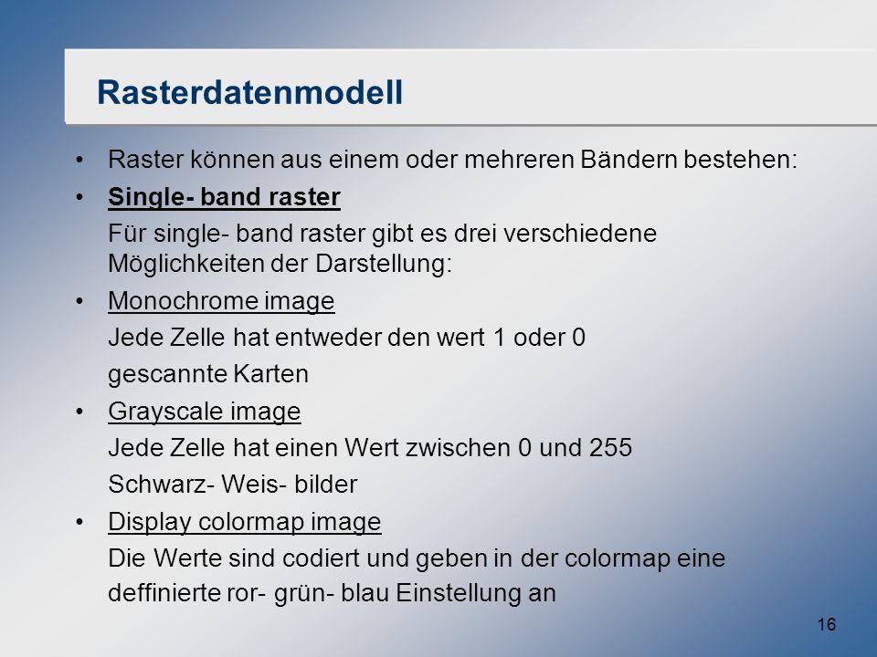 16 Rasterdatenmodell Raster können aus einem oder mehreren Bändern bestehen: Single- band raster Für single- band raster gibt es drei verschiedene Mög