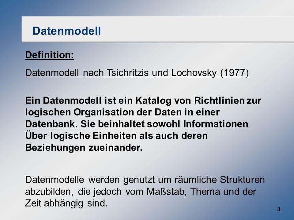 8 Datenmodell Definition: Datenmodell nach Tsichritzis und Lochovsky (1977) Ein Datenmodell ist ein Katalog von Richtlinien zur logischen Organisation